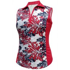 #lorisgolfshoppe Women's Golf Apparel offers a classy collection of golf skorts, shorts, dresses, and golf tops. You gotta see this Red/Navy/White Monterey Club Ladies & Plus Size Ladies Dry Swing Popcorn Print Sleeveless Golf Shirt with unique , pretty colors!