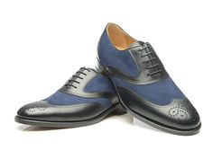 SHOEPASSION.com – Goodyear-welted two-tone Oxford in black and blue