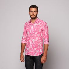 Mens Pink Floral Shirt | Is Shirt