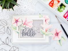 Watercoloured petunias handmade card by Debby Hughes using the new Pretty Petunias set from Pretty Pink Posh. Find out more here: http://limedoodledesign.com/2018/01/shakin-it-up-for-pretty-pink-poshs-4th-birthday/