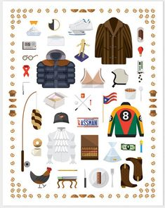 Illustration by Nathan Manire of props from the set of Seinfeld. How many can you name?