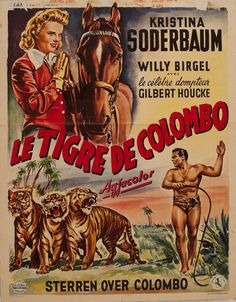"Title: Le Tigre de Colombo. Poster released: West Germany, 1953. Original Film Title: Sterne Über Colombo (Stars over Colombo). Movie filmed: Sri Lanka, India and Germany. Film released: West Germany, 1953. Starring: Kristina Soderbaum, Willy Birgel, Adrian Hoven. Director: Veit Harlan. Poster type: West German one sheet. Dimensions: 14"" x 22"" = 36 x 56cm. Condition: Very Good. Code: A000023LTCSLDIP."