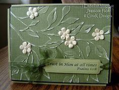 handmade card from iEmbellish: Simple Cuttlebug Cards ... embossing folder makes the design ... leafy branch embossed and then lightly sanded ... little flowers  added in contrasting color ... lovely card!