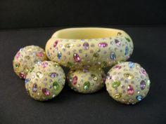 Vintage Signed Weiss Cream Color Clamper Bracelet Pastel Rhinestones w Earrings | eBay