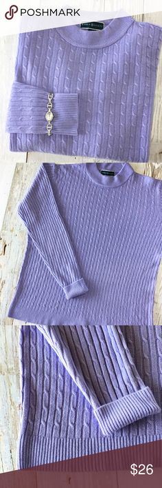 """Karen Scott Luxsoft Cable Knit Sweater Simply stylish Karen Scott cable knit sweater. Beautiful lavender color. Made of a super soft acrylic material. Pairs perfectly with your favorite career pants and jeans 💕  Excellent condition- no pulling or flaws.  Measurements: 27"""" long 24"""" across underarm to underarm   Feel free to ask any questions- 🛍bundle and save!!🛍 Karen Scott Sweaters"""
