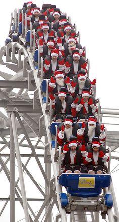 Santas on a Roller Coaster - Santa School (Korea) Noel Christmas, Winter Christmas, All Things Christmas, Father Christmas, Favorite Holiday, Holiday Fun, Jolly Holiday, Santa Claus Is Coming To Town, Guy Fawkes