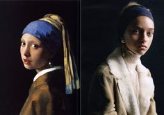 'The Girl With The Pearl Earring' L: Johannes Vermeer, 1665  R: Marcelina Sowa in unknown