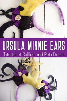If you're into The Little Mermaid AT ALL, you'll love these beautiful Ursula Mickey ears. They're super simple, no-sew DIY Ursula Mickey ears for Disney. Disney Ears Headband, Diy Disney Ears, Disney Mickey Ears, Mickey Mouse, Baby Disney, Disney Disney, Disney Nursery, Disney Diy Crafts, Felt Crafts Diy
