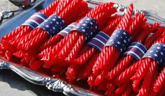 Red licorice whips wrapped in a touch of the red, white and blue will delight both children and adults - promise!