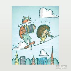 Fox and Hedgehog Musicians, Charleston Tightrope Series - Tami Boyce Hedgehogs, Kids Decor, Charleston, Musicians, Fox, My Arts, Comics, Drawings, Drawing Drawing