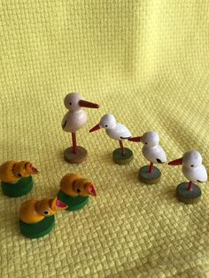 Vintage German wooden figures, chicks and storks