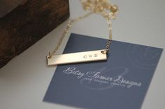 Thick Double Sided Gold Bar Necklace - 14k Gold Fill - Thick - Hand Stamped Jewelry - Layering Necklace by Betsy Farmer Designs by betsyfarmerdesigns on Etsy