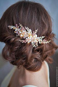 Купить гребень с розовым кварцем в аренду - золотой, гребень, свадебные аксессуары, свадебные украшения