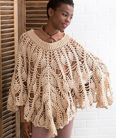The poetry of pineapples is achieved with basic crochet stitches being combined in a beautiful way. This poncho is wearable any season of the year for a romantic look.