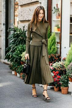monochromatic army green outfit