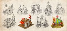 Small houses by Boris Rogozin, via Behance