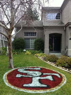 I love this 49er lawn tattoo and I am no it I will have it done tomorrow for the Super Bowl if I ha the paint   What time does lowes open?