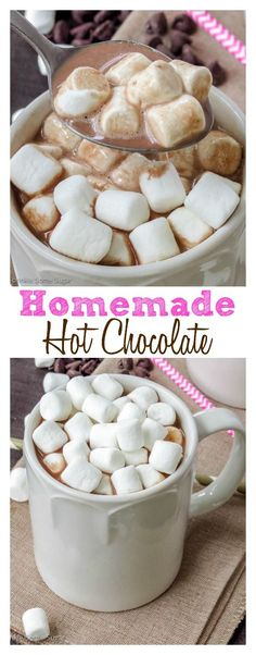Homemade Hot Chocolate. The easiest and best hot chocolate ever using pure chocolate and it only calls for three ingredients!