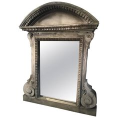 Imposing French Zinc Architectural Mirror with Original Glass | From a unique collection of antique and modern wall mirrors at https://www.1stdibs.com/furniture/mirrors/wall-mirrors/