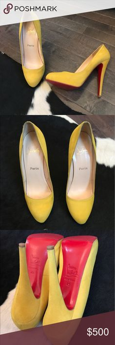 Christian Louboutins bright yellow suede pumps! Beautiful Christian Louboutin canary yellow suede pumps. EXCELLENT condition, has only been worn once indoors, but I had them professionaly cleaned. Sky high 5 1/2 inch heels!!!! One minuscule flaw as shown in photo 7, so small it's nearly impossible to photograph. Size 40 but fits a US 8.5 or 9 best. Please see the CLOSET RULES listing at the top of my closet for all closet rules to avoid any issues!! Christian Louboutin Shoes Heels