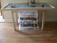 What kid would not love this Ultimate large lego table. with 8 removable lego plates and 3 large drawers for storage.. See through drawers helps your kids find