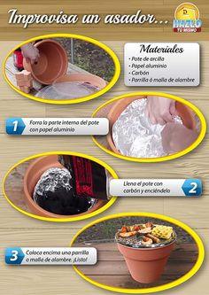 Improvisa un asador utilizando un pote de arcilla.  #HazloTuMismo #DIY #curioso  #barbacoa