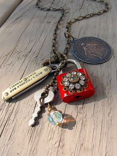 Handmade Vintage Charm Padlock Knife Pendant Necklace Boho
