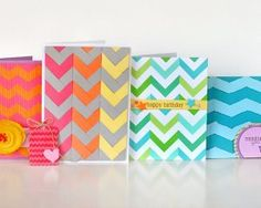 Neon Chevron Cards | FaveCrafts.com