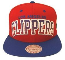 Los Angeles Clippers Mitchell & Ness C Block Retro Snapback Cap Hat Red Blue