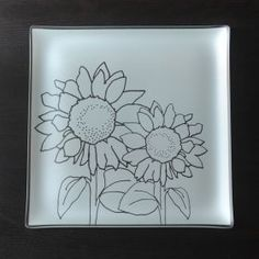 """By Riverside Designs.  13"""" square Etched Glass Sunflower Plate - Plates with a PurposeTM...a part of our GIVE Local POWER Collection, benefitting women in recovery!  GIVE LOCAL!  LOCAL GOODNESS"""