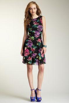 Lace Floral Trim Dress