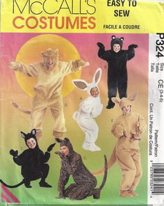 Bear Lion Bunny Suit Childrens Halloween Costume Sewing Pattern Unused McCalls P324