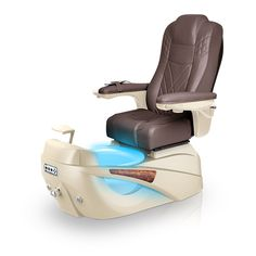 Luminous pedi-spa shown in Walnut Ultraleather cushion, Champagne base, Aurora LED Color-Changing bowl (shown in blue)