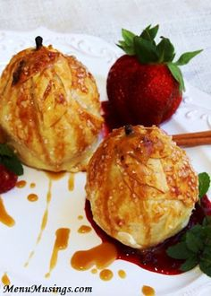 Cream Cheese Stuffed Pear Dumplings with a Southern Praline Sauce. Step-by-step photo tutorial. #food #delicious #yummy
