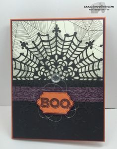 Stampin' Up! Six Sayings set on Happy Haunting DSP, Lucky Stars TIEF-embossed Basic Black CS and a new Spider Web Doily.http://stampsnlingers.com/2015/09/14/stampin-up-six-sayings-boo/comment-page-1/#comment-1278