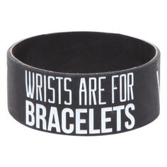 Sleeping With Sirens Wrists Rubber Bracelet Hot Topic ❤ liked on Polyvore featuring jewelry, bracelets, bangle jewelry, bangle bracelet, hinged bracelet, hot topic and rubber jewelry