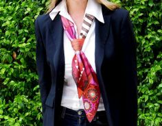 MaiTai's Picture Book: Hermes 'Coupons Indiens' scarf in a tie knot