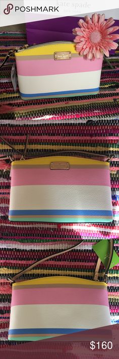 Kate Spade New York Millie Crossbody NWT Kate Spade New York Millie crossbody bag! Gorgeous bag in Grove Street Printed Dune Stripe! Clean and spacious interior with one pocket. The absolute perfect bag for spring and summer! kate spade Bags Crossbody Bags