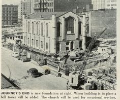 Back in 1955, the Mariner Church was moved down Woodward to it's present home by the entrance to the tunnel. It took 3 months to move the 3,000 ton limestone church 880 feet.