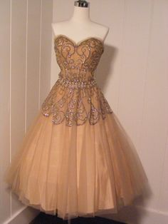 1950 Embellished Sequined and Pearl Ball Gown