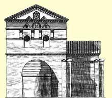 Poitiers: le baptistère Saint Jean. Schéma- Un croquis de Joly-Leterme dans le dossier du baptistère aux archives des Monuments Historiques à Paris indique sommairement qu'il s'agissait de croix inscrites dans un cercle et dessinées au compas, l'intervalle des bras dessinant ainsi 4 pétales de marguerite. Le Musée de l'Echevinage conserve encore quelques smalts de ce pavage.