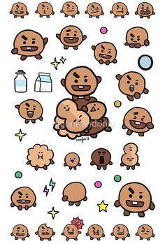'Shooky by myoneandonly Cute Wallpaper Backgrounds, Bts Wallpaper, Cute Wallpapers, Pop Stickers, Printable Stickers, Kpop Drawings, Kawaii Drawings, Bts Chibi, Bts Bulletproof