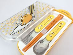 SANRIO Gudetama Spoon & Chopsticks & Fork Set With Case Lunch Food Bento Box