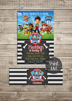 $7.50 - Paw Patrol Party Pack Printable Invitation & Bottle Label