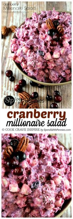 If you love Ambrosia salad, you're going to go crazy for this dish! Perfect served alongside turkey dinner! Cranberry Millionaire Salad Recipe   Spend With Pennies