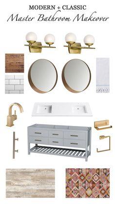 My Dream Master Bathroom Design Plan with brass fixtures, kilim rug, rustic floors, modern vanity and mirrors – Simple Stylings – www. Bathroom Layout, Bathroom Colors, Bathroom Sets, Master Bathroom, Small Bathroom, Bathroom Designs, Mosaic Bathroom, Boho Bathroom, Bathroom Mirrors
