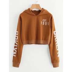 SheIn(sheinside) Letter Print Crop Hoodie ($15) ❤ liked on Polyvore featuring tops, hoodies, brown, hooded pullover sweatshirt, crop tops, hooded sweatshirt, cropped hoodie and long sleeve pullover