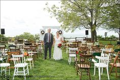 Mixed and matched chairs. Old and New, Painted and Stained, Wood and Metal - Absolutely Charming! Fall Wedding, Wedding Ceremony, Dream Wedding, Wedding Things, Mismatched Chairs, Old Chairs, Bayfield Ontario, My Favorite Year, Sustainable Wedding