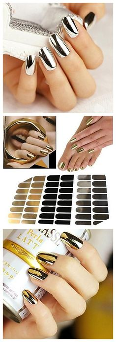 OMG chrome finish nail stickers! We love the gold and silver options. Check them…
