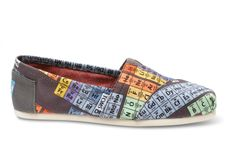 Periodic Table TOMS. I saw these the other day and although I have no personal ties (career involvement, chemistry enthusiast, knowledge of every element listed, etc.) to indicate that I should have these, the cool-ness factor is what makes me want these...
